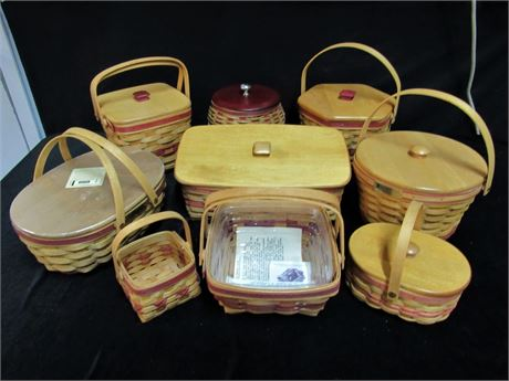 9 Piece Longaberger Basket Lot