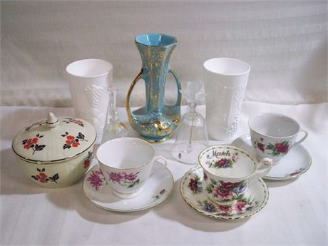 9 PIECE MISC. GLASS/CHINA LOT INCLUDING ROYAL ALBERT