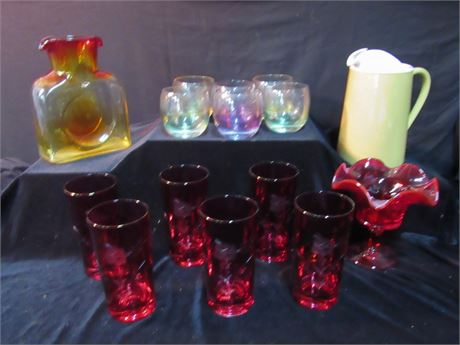 14 Piece Misc. Glass Lot and Pottery Pitcher