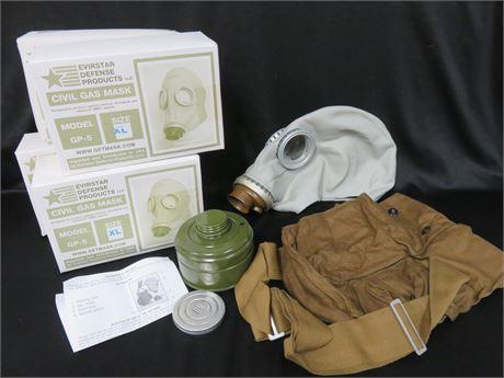 Lot of 4 EVIRSTAR GP-5 Civil Gas Mask Kits - SIZE XL