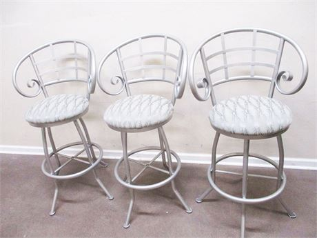 LOT OF 3 BRUSHED ALUMINUM SWIVEL BAR STOOLS