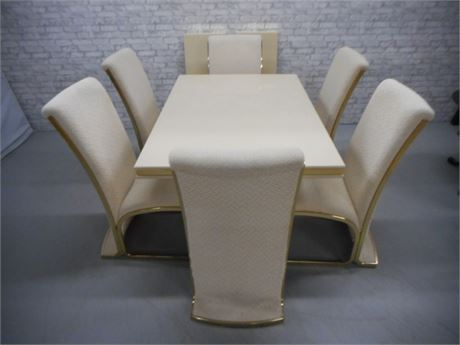 1970'S OFF-WHITE LACQUER DINING TABLE BY FRENCH CANADIAN DESIGNER ROGER ROUGIER