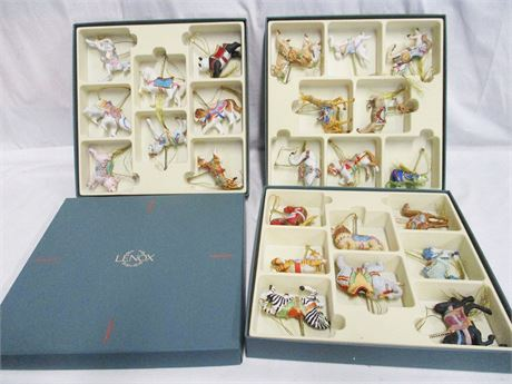 COMPLETE SET OF LENOX CAROUSEL CHRISTMAS ORNAMENTS WITH ORIGINAL BOX