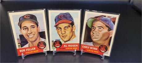 BOB FELLER, EARLY WYNNE, & AL ROSEN TOPPS ARCHIVES REPRINT 3 CARD LOT