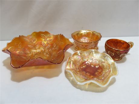 4-Piece Irridescent Amber Carnival Glass Lot