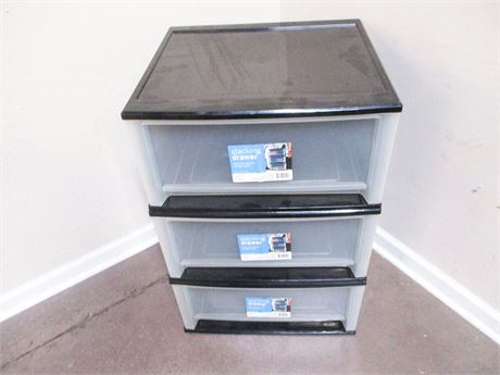 LOT OF 3 PLASTIC STACKING DRAWERS