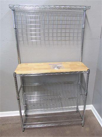 Metal Rack/Utility Shelf with Wood Counter Top