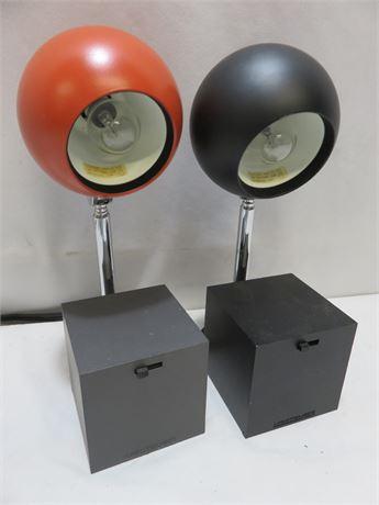 Vintage Mid-Century LIGHTOLIER Lytegem Telescoping Eyeball Desk Lamps