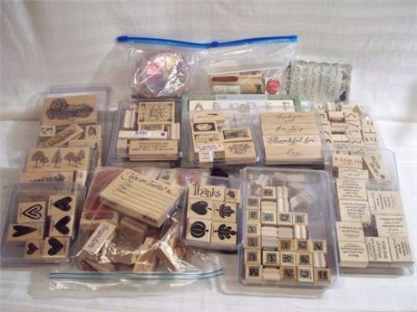 LARGE RUBBER STAMP LOT - 100+