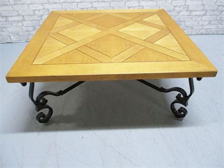 LARGE SQUARE COFFEE TABLE WITH WROUGHT IRON