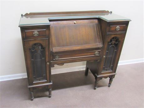 UNUSUAL SLANT FRONT SECRETARY DESK WITH SIDE GLASS DISPLAY/CURIOS