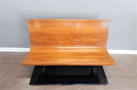 Wood Bench with Metal Legs and Wood Base