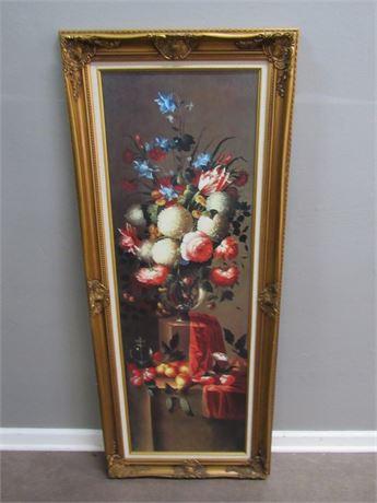 Large Framed Floral Still Life - Faux Oil on Board