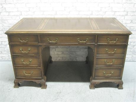 VINTAGE KNEEHOLE DESK WITH TOOLED LEATHER TOP