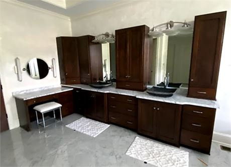 Master Bathroom Cabinetry, Counters, Sinks & Faucets