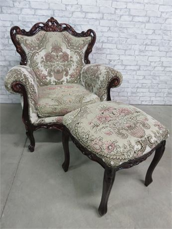 Vintage Louis XV Style Arm Chair & Ottoman