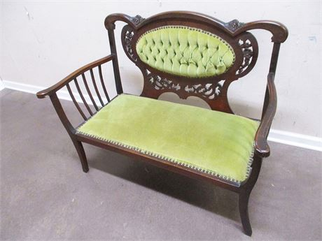 ANTIQUE CARVED TUFTED-BACK SETTEE