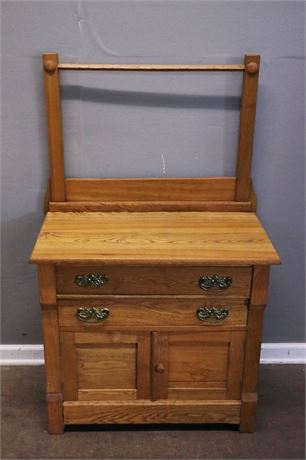 Vintage Victorian Wash Stand / Cabinet with Towel Bar