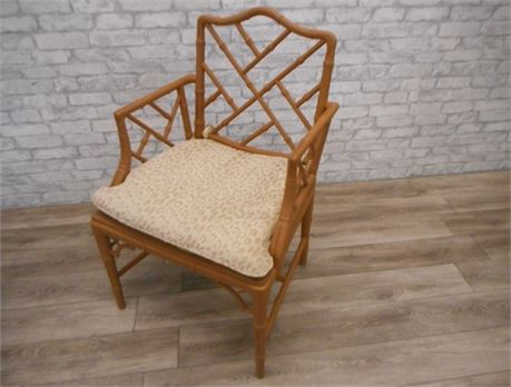 BAMBOO LOOK PAINTED CANE SEAT CHAIR WITH CUSHION