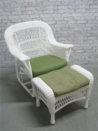 SYNTHETIC WHITE WICKER ROCKER WITH OTTOMAN