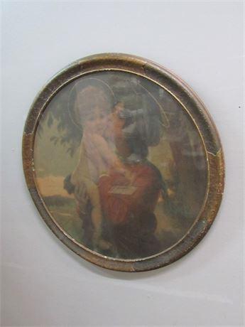 Antique Framed Round Print - Madonna and Child