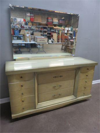 Mid-Century BASSETT Silver Mist Triple Dresser & Mirror
