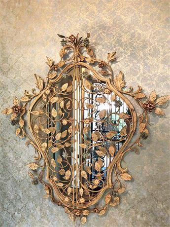 Vintage Metal Floral Entryway Mirror