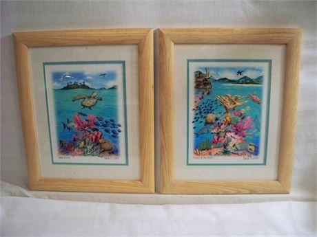2 FRAMED AND DOUBLE MATTED CAROLYN C. STEELE PRINTS