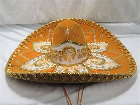 Belri Hats - Hand-made Decorative Mexican Mariachi Sombrero Hat - Orange