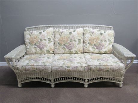 Lexington Casual White Wicker Sofa with Floral Cushions