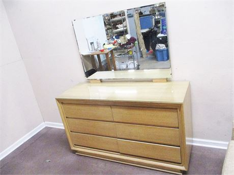 MID-CENTURY MODERN DOUBLE DRESSER WITH MIRROR