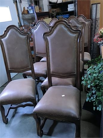 Leather & Wood Dining Nailhead Chairs Set 7