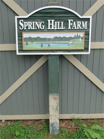Carved Wood Spring Hill Farm Sign