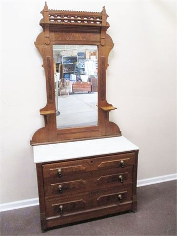 VINTAGE MARBLE-TOPPED DRY SINK WITH MIRROR