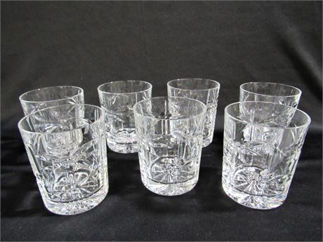 7 SHANNON CRYSTAL DOUBLE OLD FASHIONED GLASSES
