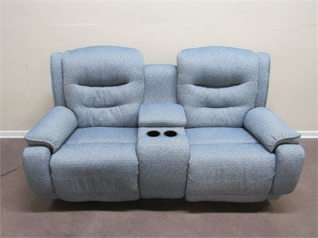 GREAT LOOKING BLUE & WHITE UPHOLSTERED HOME THEATER SEATING/CONSOLE SOFA