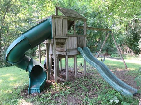 3-Level Lookout Tower Fort Swing Set Playset