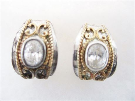 STERLING SILVER AND 14K GOLD PIERCED EARRINGS