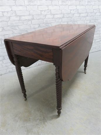 Antique 19th Century Empire Mahogany Drop Leaf Table
