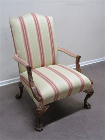 NICE UPHOLSTERED SIDE/ARM CHAIR WITH CLAW FEET