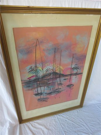 ALEX DERY 1970s Sailboat Impressionist Pastel Rendering
