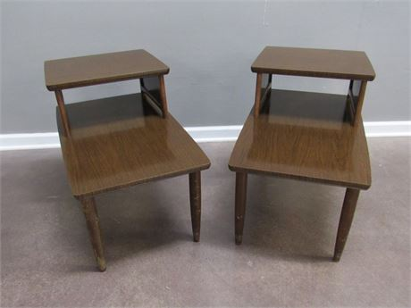 2 Vintage Baumritter 2-Tier Mid Century Side/End Tables with Cane Sides