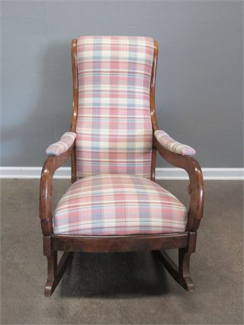 Antique/Vintage Lincoln Rocking Chair with Plaid Upholstery