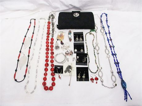 LOT OF COSTUME JEWELRY, SOME MARKED STERLING