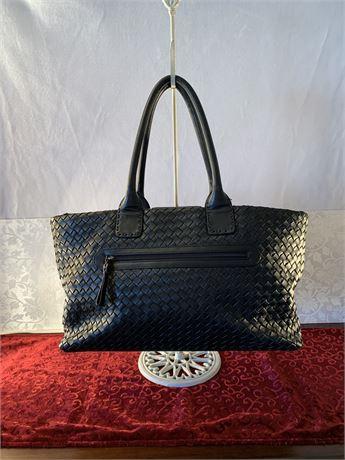 Donald Pliner Black Woven Leather Hobo Handbag