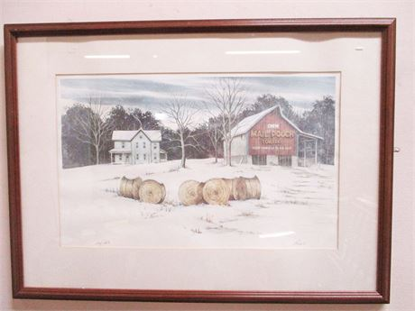 """""""MAIL POUCH TOBACCO BARN"""" PRINT #126/233 BY OHIO ARTIST DON FUSCO, SIGNED"""