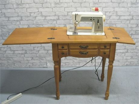 VINTAGE SINGER TOUCH AND SEW SPECIAL ZIG-ZAG SEWING MACHINE AND CABINET