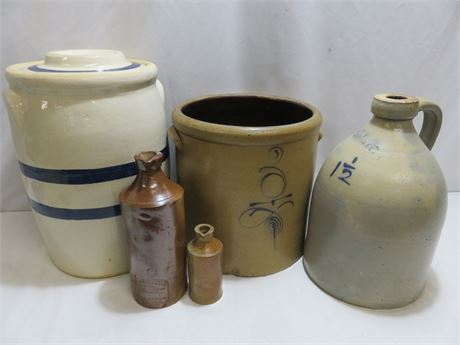 5-Piece Vintage Stoneware Lot