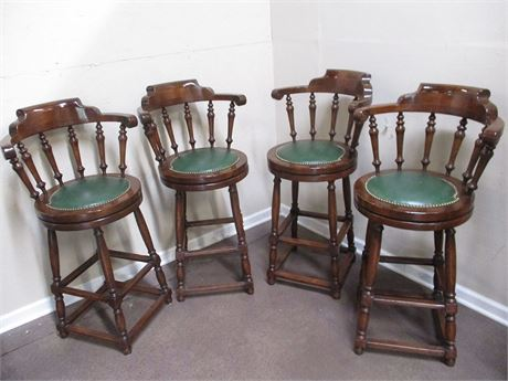 LOT OF 4 SWIVEL BAR STOOLS WITH LEATHER SEATS