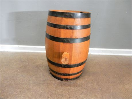Vintage Wood and Metal Barrell with Large Cork